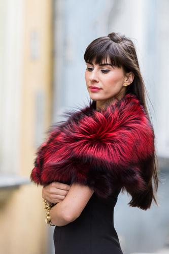 Large Detachable Silver Fox Fur Collar dyed in red.