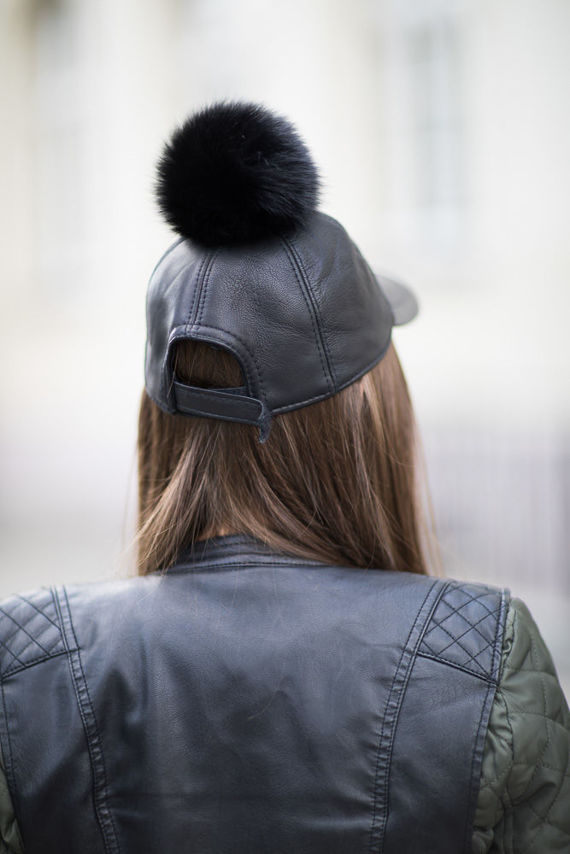Leather Cap With Fox Fur Pom Pom