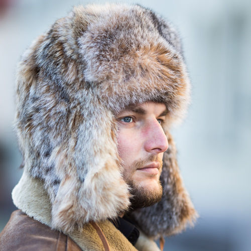Luxury Man's  Canadian lynx Fur Trapper Hat