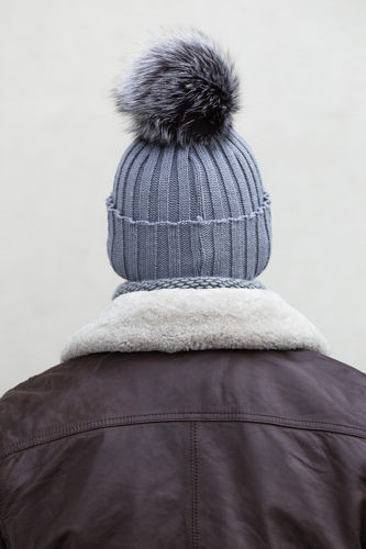 Man's Woollen Cap with Genuine Silver Fox Fur Pom-Pom