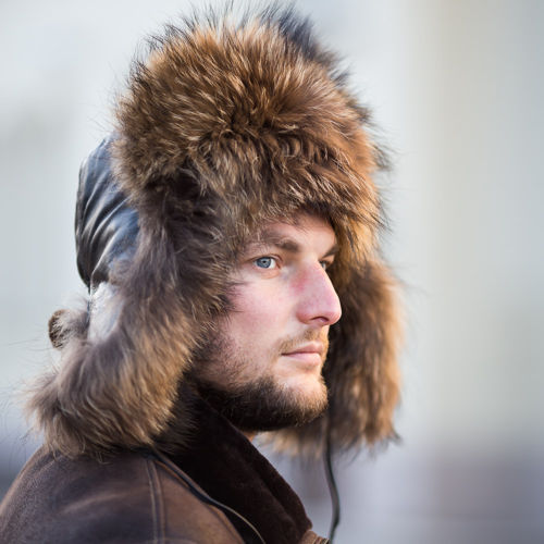 Men,s Raccoon Fur & Black Leather Trapper Hat