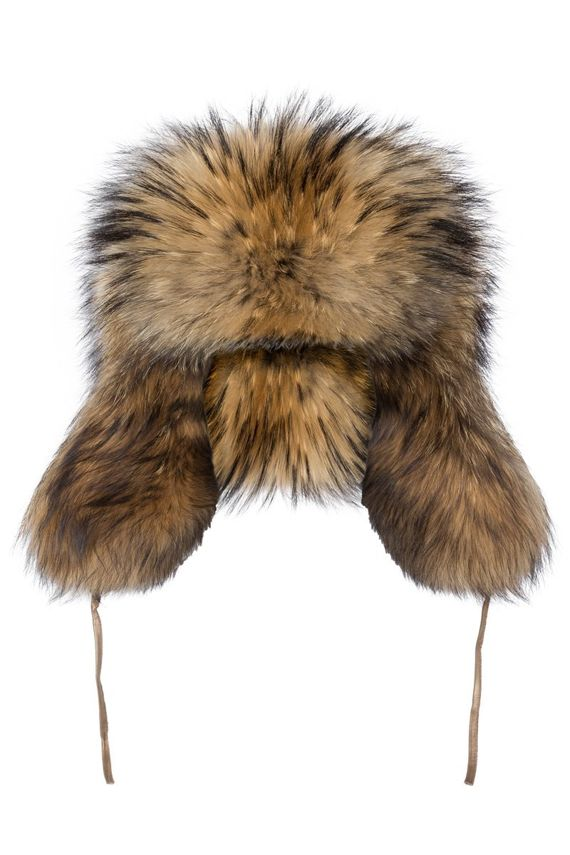 Men,s genuine Raccoon Fur Trapper Hat