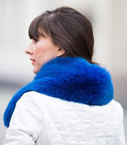 Small Detachable Silver Fox Fur Collar dyed in navy blue.