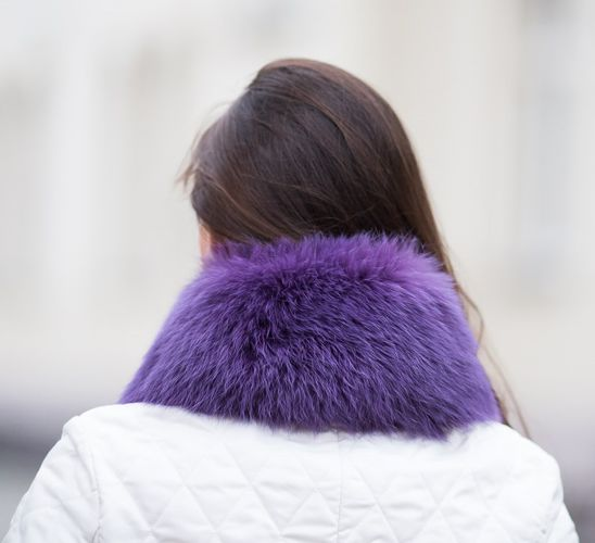 Small Detachable Silver Fox Fur Collar dyed in purple.