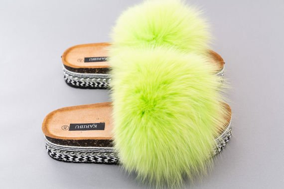 Top Fur Slides, Sandals with Pink and Beige Fur