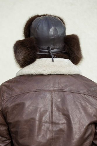 Trapper Hat in Black Fox Fur with Leather Top