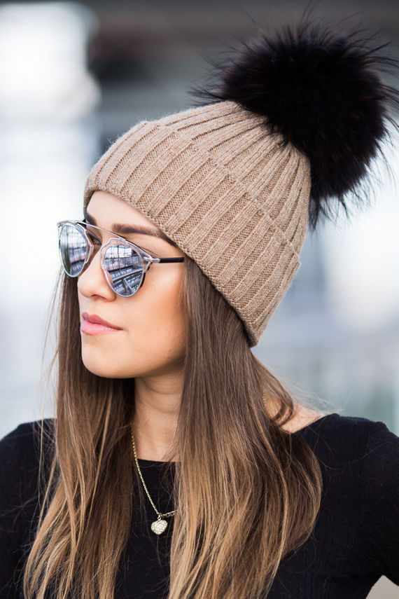 VIRGIN WOOL AND ALPACA BEANIE HAT FUR-TRIMMED