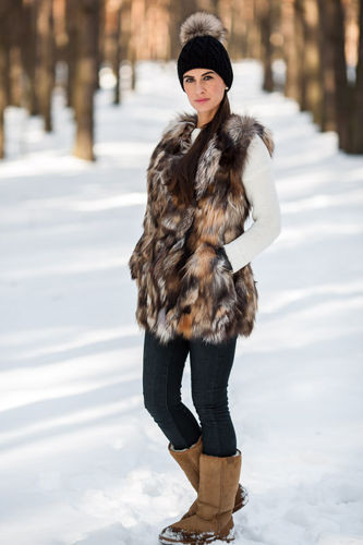 Woman's Genuine Raccoon Dog Fur Waistcoat