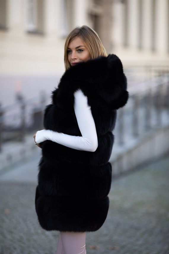 Woman's Genuine Silver Fox Fur Waistcoat with Hood