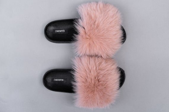 Women's Beige Fur Slides, Sandals with Genuine Fox Fur