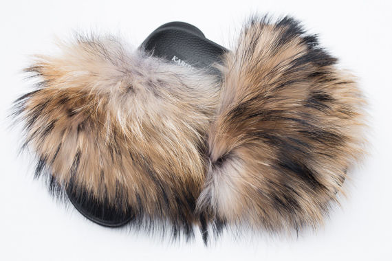 Women's Fin Raccoon Fur Slides, Sandals with Genuine Raccoon Fur