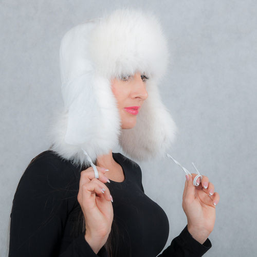 Womens Fur Trapper Hat in White