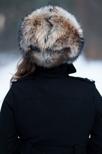 Womens Red Fox Fur Trapper Hat with Pom Poms