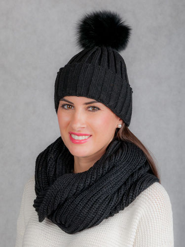 Wool hat and loop set with genuine fox fur pompoms