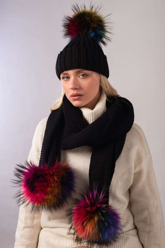 Wool hat and scarf set with genuine fox fur pompoms.