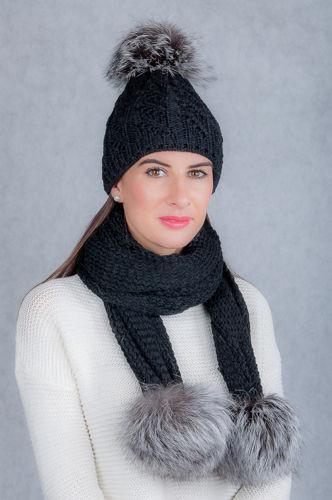 Wool hat and scarf set with genuine silver fox fur pompoms.
