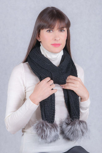 Wool scarf with genuine silver fox fur pompoms