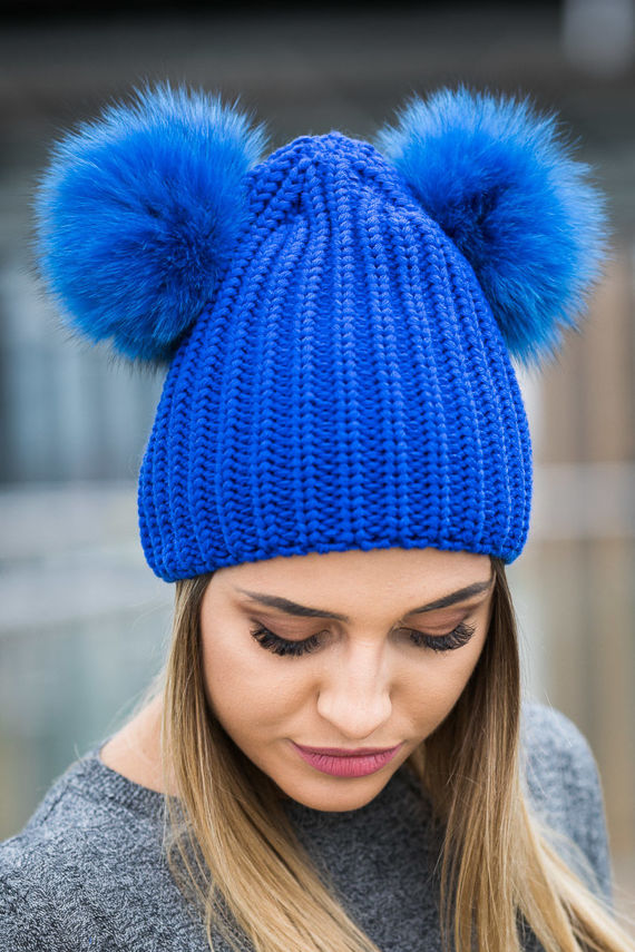 Woollen Cap with Genuine Fox Fur Pom-Poms - Cornflower Blue