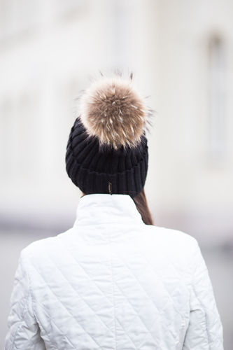 Woollen Ribbed Cap with Genuine Silver Fox Fur Pom-Pom
