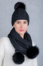 Cap and Scarf Set with Genuine Fox Fur Pom-Poms