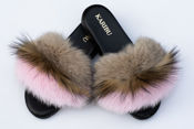 Women's Fur Slides, Sandals with Royal Blue Genuine Fur