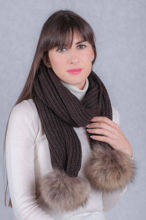 Wool scharf with silver fox fur pompom